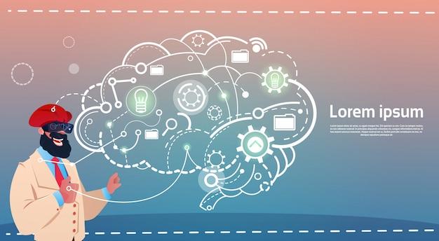 Arabisch van de de glazenbronsbraumeuring van de bedrijfsmensenslijtage digitaal de idee creatief concept