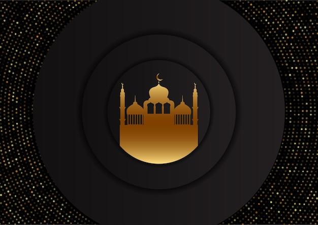 Arabische achtergrond met gouden moskeeontwerp