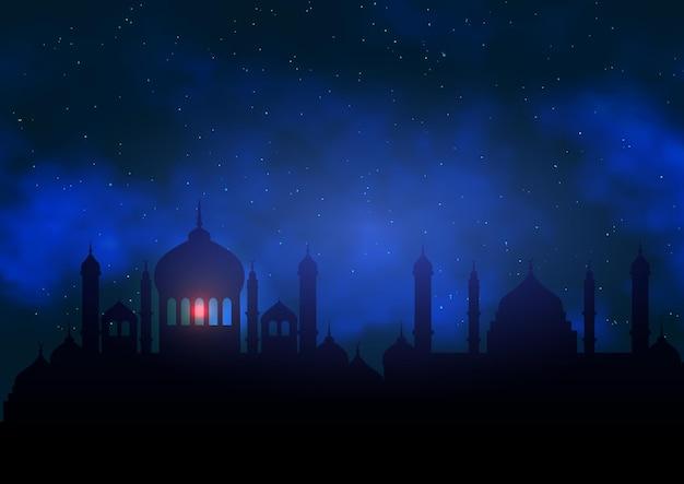 Arabische achtergrond met moskeesilhouet tegen nachthemel