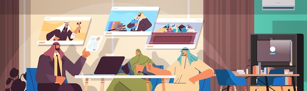Arabische advocaat of rechter raadplegen bespreken met klanten tijdens vergadering wet en juridisch advies service online overleg concept horizontale portret vectorillustratie