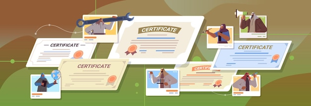 Arabische afgestudeerde mensen van verschillende beroepen met certificaten arabische afgestudeerden vieren academische diploma graad onderwijs concept horizontale portret vectorillustratie