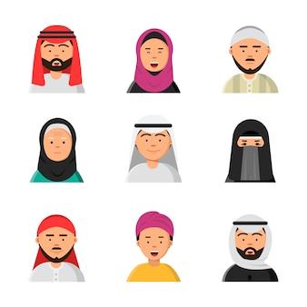 Arabische avatars, islamitische moslimportretten van mannelijke en vrouwelijke hijab niqab vlakke pictogrammen voor web