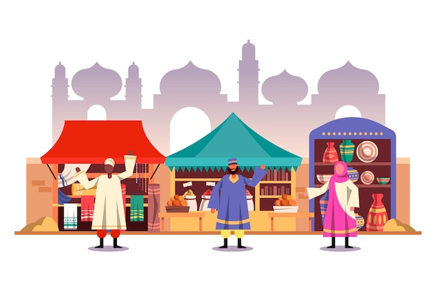 Arabische bazaar markt illustratie