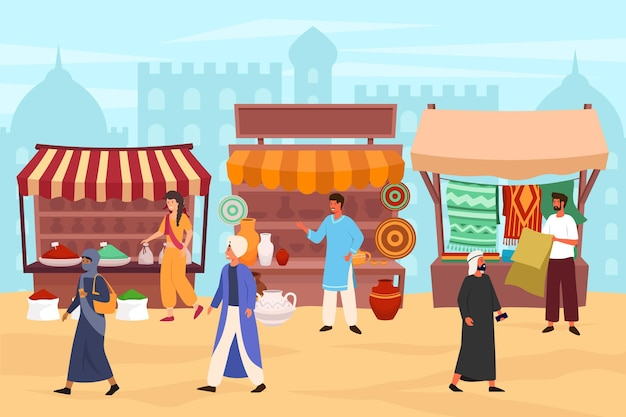 Arabische bazaar waar mensen wandelen en producten kopen