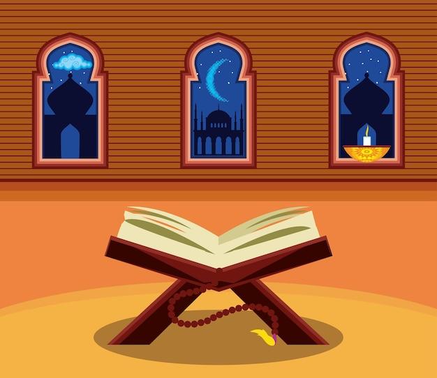 Arabische boek kaarslicht tempel