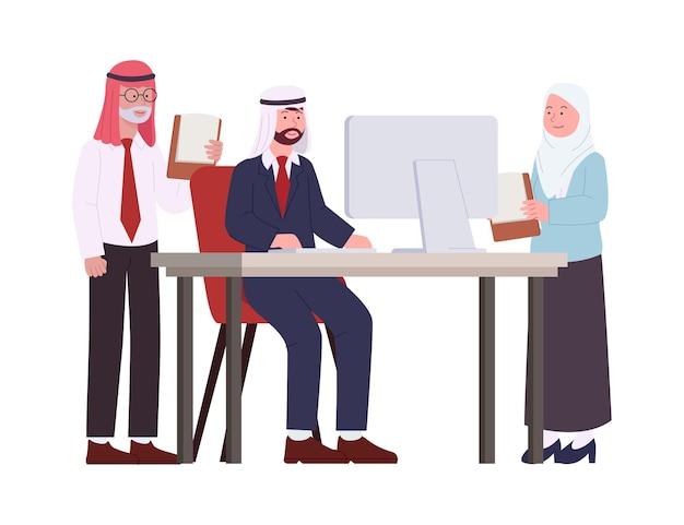 Arabische business man en vrouw werken bespreken project