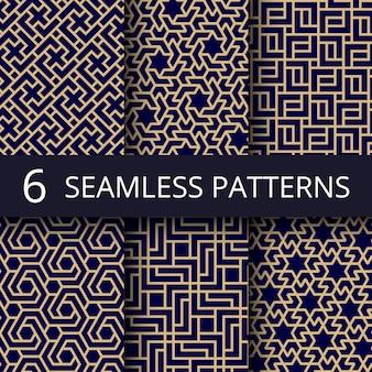 Arabische cultuur naadloze patronen, gouden aziatische decoratie herhalen achtergronden