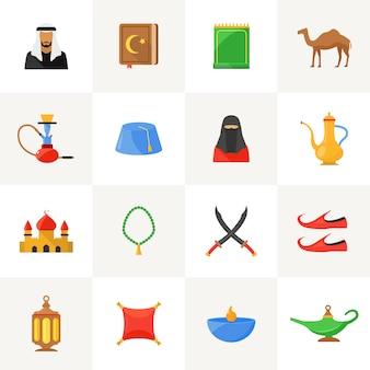 Arabische cultuur pictogrammen instellen