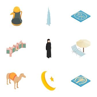 Arabische elementen iconen set, isometrische 3d-stijl