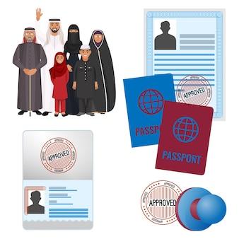 Arabische emigranten met goedgekeurd door postzegeldocumenten en paspoorten.