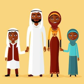 Arabische familie, arabische ouders. twee kinderen worden bewaard voor de handen van de ouders