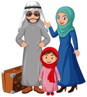 Arabische familie die arabisch kostuumkarakter draagt