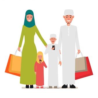 Arabische familie mensen karakter om te winkelen.