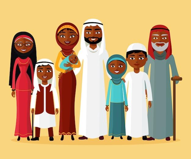 Arabische familie, moslim arabische mensen, saoedi-arabische cartoon man en vrouw.