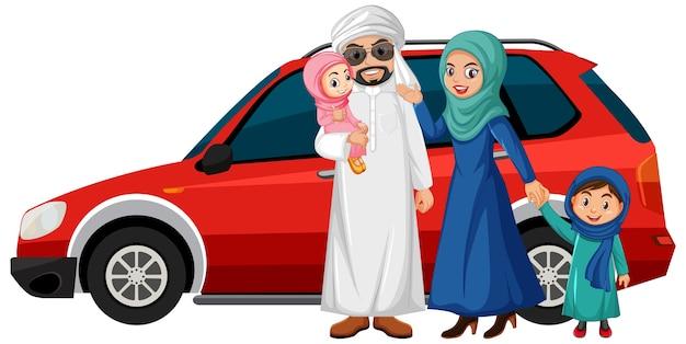 Arabische familie op vakantie