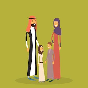Arabische familie vier personen, arabische ouders twee kinderen