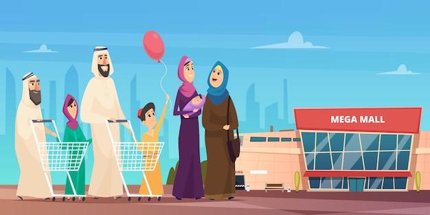 Arabische familie winkelen