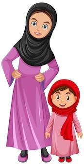 Arabische familiemoeder en dochter die arabisch kostuumkarakter dragen