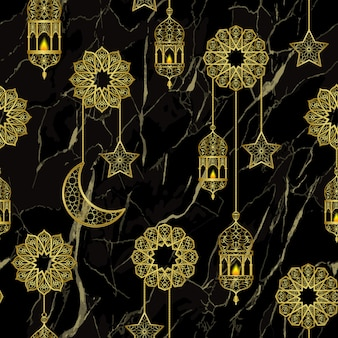 Arabische gouden lantaarn en gouden halve maan sterren naadloze patroon op zwarte marmeren achtergrond