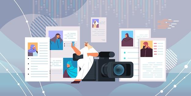 Arabische hr-manager met videocamera die cv-curriculum vitae kiest met foto en persoonlijke info van nieuwe werknemers, sollicitanten, rekrutering, inhuren, concept, horizontale vectorillustratie