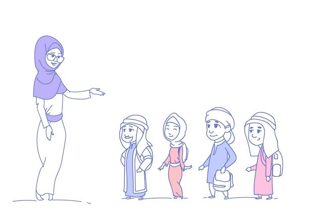 Arabische kinderen leerlingen met vrouwelijke leraar moslim schoolkinderen groep schets doodle horizontaal geïsoleerd