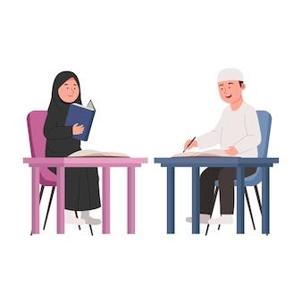 Arabische kinderen studeren samen platte cartoon afbeelding