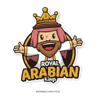 Arabische koning mascotte logo cartoon ontwerpsjabloon