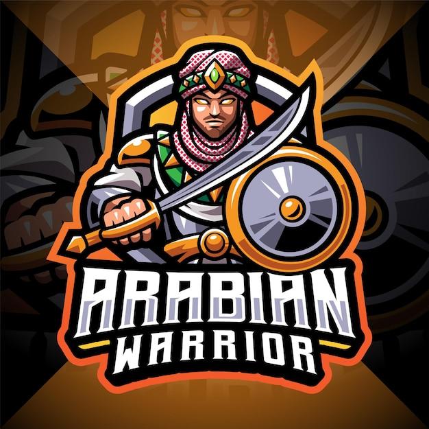 Arabische krijgers esport mascotte logo ontwerp