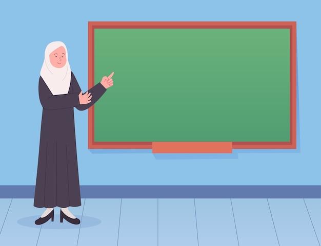 Arabische leraar uitleggen op het bord arabische lessen illustratie