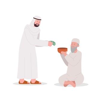 Arabische man die een aalmoes geeft aan een oude bedelaar