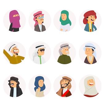 Arabische man en vrouw, vectoravatars, reeks