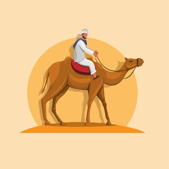 Arabische man kameel rijden op zand cartoon afbeelding