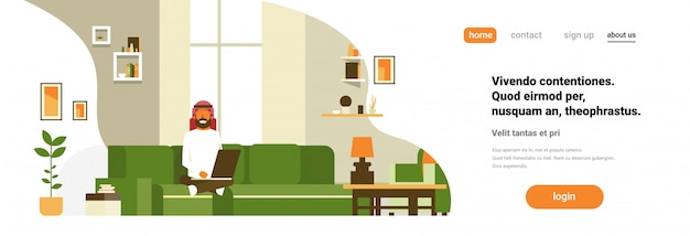 Arabische man met laptop woonkamer interieur thuis modern appartement