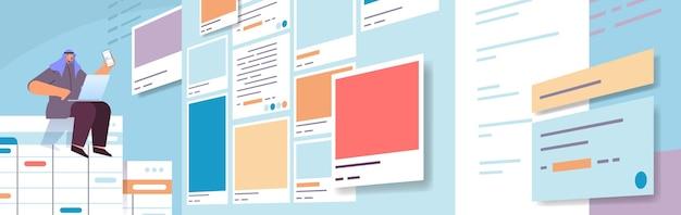 Arabische man ontwikkelaar met behulp van smartphone maken mobiele app ui interface webtoepassing ontwikkelingsprogramma software optimalisatie concept horizontale volledige lengte vectorillustratie