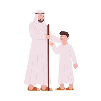 Arabische man praten met kinderen vlakke afbeelding