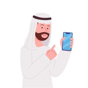 Arabische man wijst naar lege smartphone vlakke afbeelding