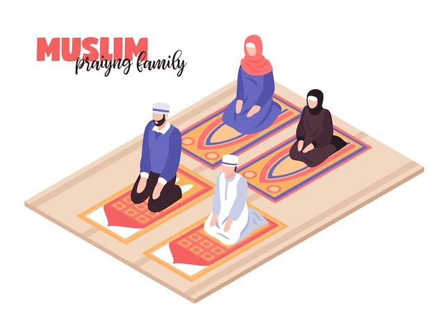 Arabische mensen bidden concept met mannen en vrouwen isometrisch bidden