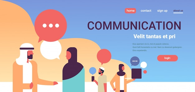 Arabische mensen chat bubbels communicatie banner