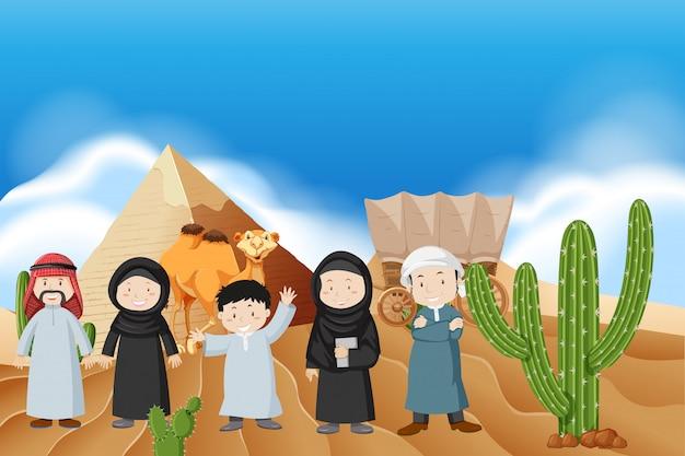 Arabische mensen in de woestijn