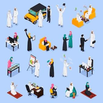 Arabische mensen isometrische set