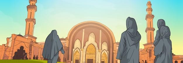 Arabische mensen komen naar moskee bouwen islamitische religie ramadan kareem heilige maand