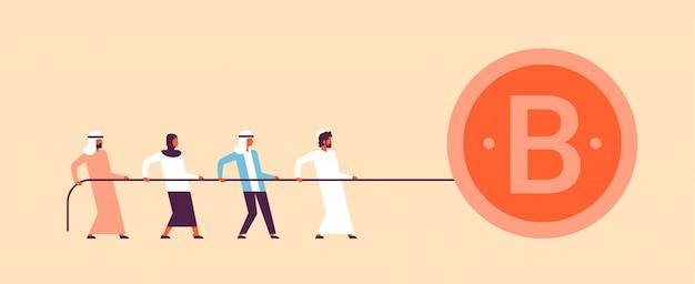 Arabische mensen team trekken touw bitcoin mijnbouw concept stripfiguur