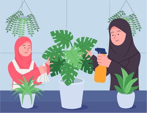 Arabische moeder en dochter zorgzame kamerplanten samen illustratie