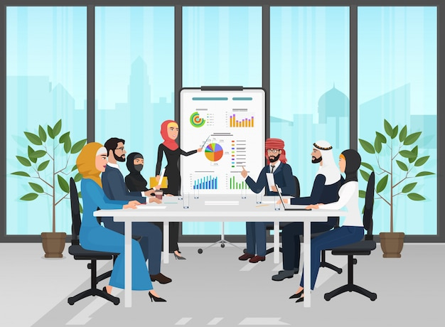 Arabische moslim bedrijfsmensengroep
