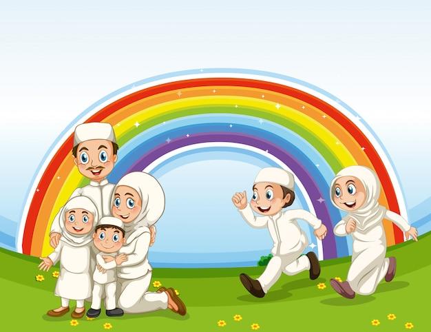 Arabische moslim familie in traditionele kleding en regenboog achtergrond