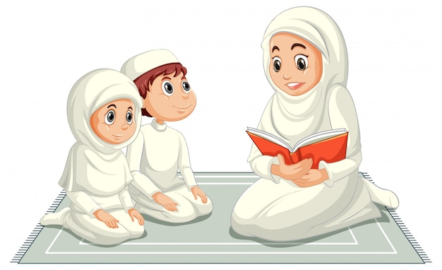 Arabische moslimfamilie in traditionele kleding in het bidden van geïsoleerde positie