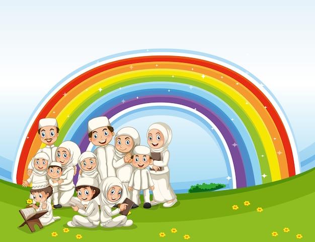 Arabische moslimfamilie in traditionele kleding met regenboogachtergrond