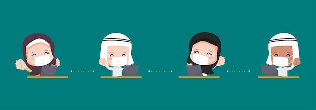 Arabische moslimmensen houden afstand bij het werken aan een bureau. nieuw normaal levensstijlkarakter. bescherming tegen virus covid-19.