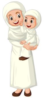 Arabische moslimmoeder en dochter in geïsoleerde traditionele kleding