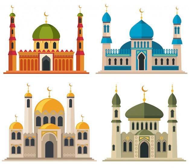 Arabische moslimmoskeeën en minaretten. religieuze oosterse architectuur cartoon gebouwen.